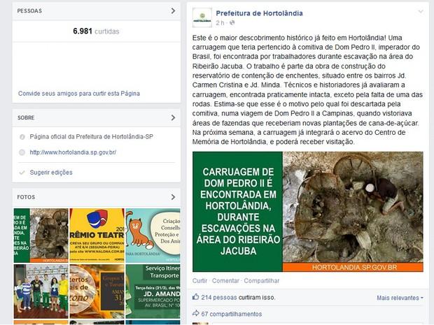 Prefeitura de Hortolândia cria postagem falsa no dia 1º de abril (Foto: Reprodução/ Facebook)