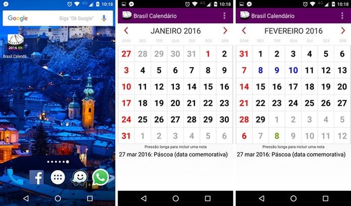 Aplicativo Brasil Calendários 2016 (Foto: Felipe Alencar/TechTudo)