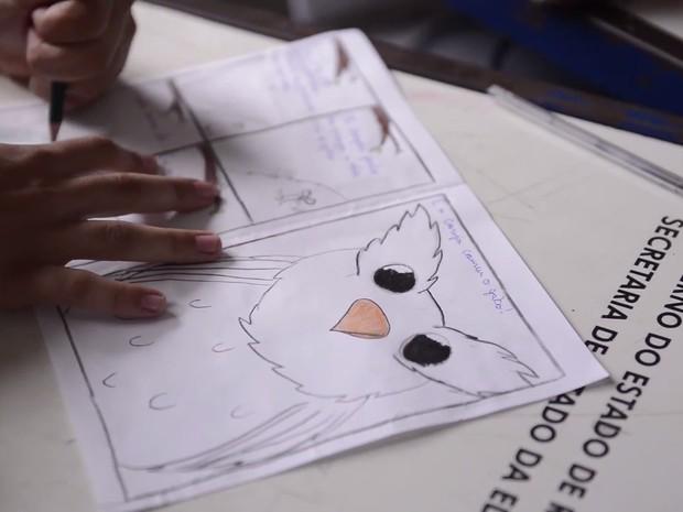 Alunos produzem gibis para aprimorar leitura em Presidente Médici, RO (Foto: Marco Bernardi/G1)