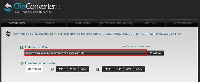 Cole a URL de um site que contenha um arquivo em FLV, como o YouTube (Foto: Reprodução/Paulo Alves)