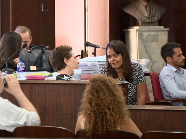 Acusados pela morte do lutador Kaio Ribeiro durante o júri popular em Campinas (Foto: Reprodução EPTV)