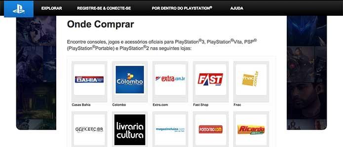 Sony indica opções de onde comprar o PS4 em seu site (Foto: Reprodução/Felipe Vinha)
