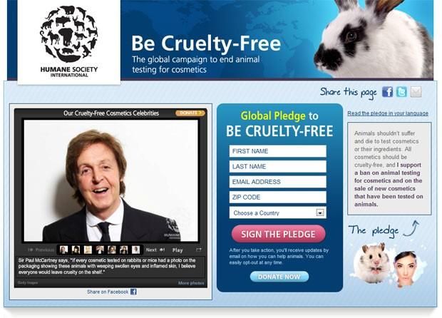 Site da Humane Society mostra mensagem de McCartney. (Foto: Reprodução)