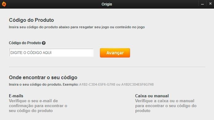 Digite ou copie o código do seu jogo no campo Código do Produto (Foto: Reprodução/Tais Carvalho)