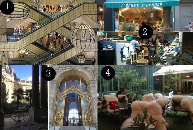 1. Bom Marché; 2. Peixaria L'Écume Saint-Honoré; 3. Le Petit Palais; 4. Jardim interno do Hotel Westin  (Foto: Lina Hauteville/Conexão Paris)