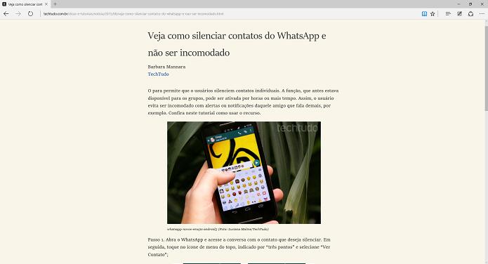 Modo Leitura no Microsoft Edge (Foto: Felipe Alencar/TechTudo)