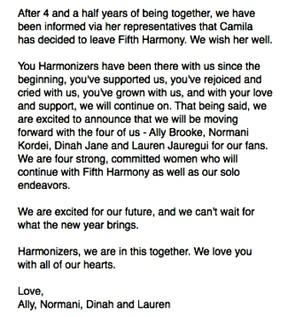 Fifth Harmony anuncia saída de uma de suas integrantes em post na web (Foto: Reprodução / Instagram)