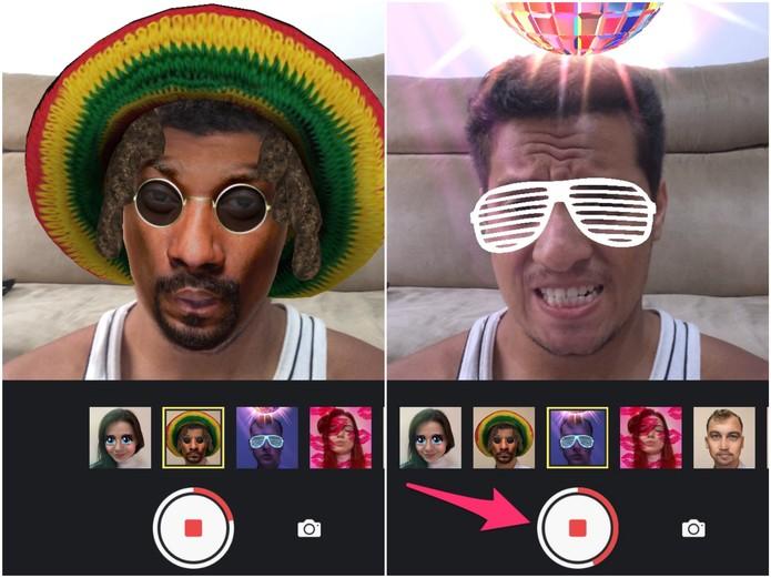 Altere os filtros durante a gravação do vídeo (Foto: Reprodução/Lucas Mendes)