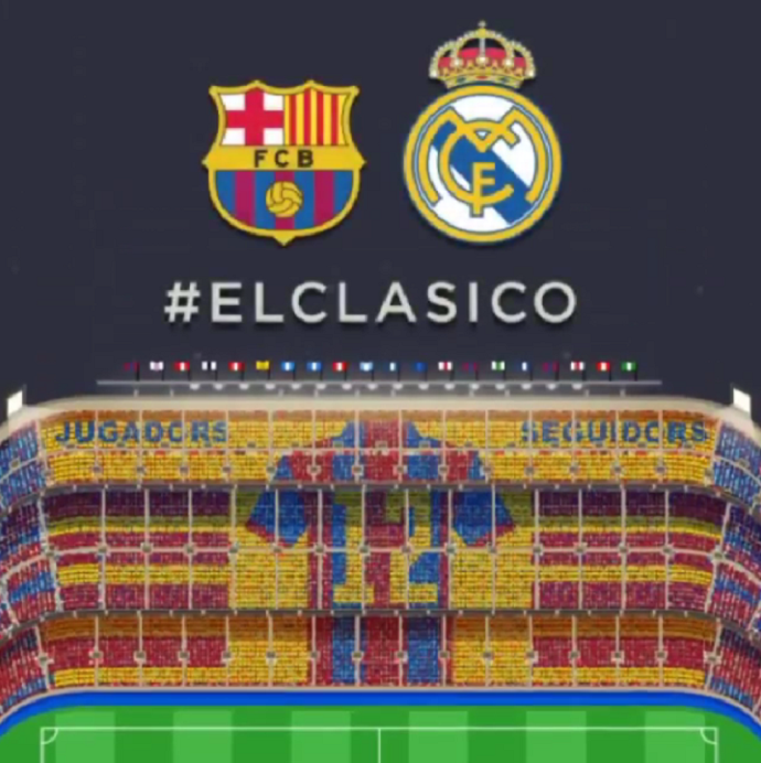 Mosaico do clássico Barcelona x Real Madrid
