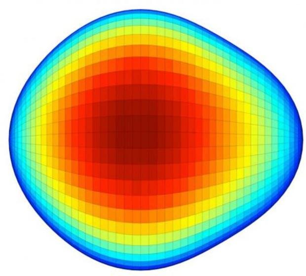 Núcleo de um isótopo de rádio-224 em formato de pera (Foto: LP Gaffney / Divulgação)
