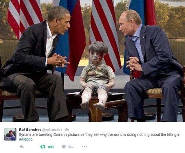Internautas usaram imagem do menino para pedir ação por parte das grandes potências em relação ao conflito (Foto: BBC/Reprodução/Twitter)