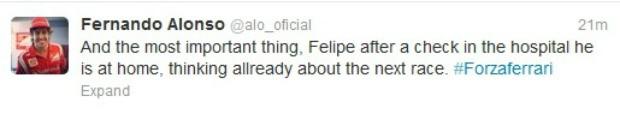 Alonso mostra preocupação com Massa, no Twitter (Foto: Divulgação/twitter)