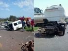 Cabine de caminhão é arrancada em acidente no PR e motorista sai ileso