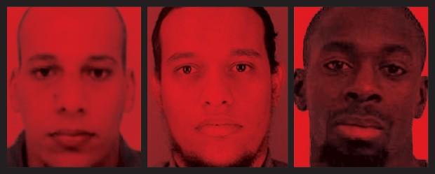 AMEAÇA LOCAL Chérif Kouachi e Saïd Kouachi mataram  12 pessoas no ataque  ao jornal Charlie Hebdo.  À direita, Amedy Coulibaly, que matou uma policial e fez reféns num supermercado judaico. Os três nasceram na França  (Foto: AFP e Getty Images)