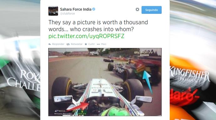 Force India rebate críticas a Sergio Pérez e acusa Felipe Massa de ser responsável por batida no Canadá (Foto: Reprodução)