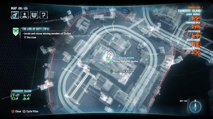 Localização no mapa do décimo quarto bombeiro (Foto: Reprodução/André Mello)