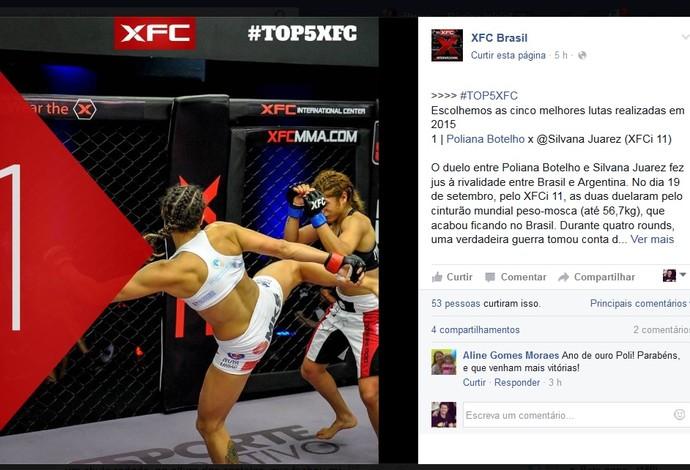 Poliana Botelho melhor luta XFC (Foto: Reprodução/Facebook)