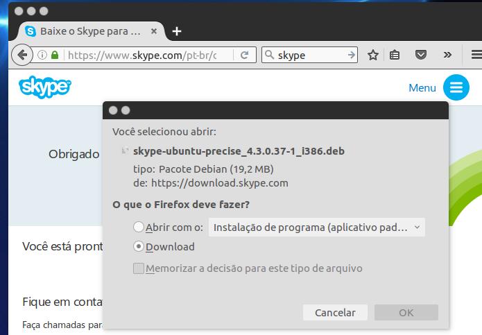 Baixando o pacote de instalação do Skype a ser baixado (Foto: Reprodução/Edivaldo Brito) (Foto: Baixando o pacote de instalação do Skype a ser baixado (Foto: Reprodução/Edivaldo Brito))