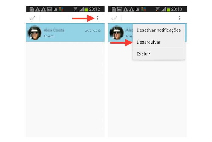 Desarquivando uma conversa no Hangouts para Android (Foto: Reprodução/Marvin Costa)