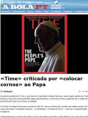 Internautas brincam com 'chifres' vermelhos no Papa em capa da 'Time' (Foto: Reprodução)
