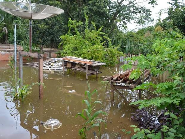 Cerca de 200 casas são invadidas pelas águas de rios em Cacoal, RO (Foto: Rogério Aderbal/G1)