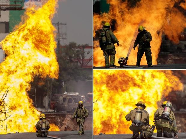Bombeiros tentam controlar o fogo após a explosão de um gasoduto causada pelo desabamento de um prédio em construção em Monterrey, no México. O asfalto se abriu e três carros foram destruídos, mas não houve vítimas no incidente, segundo a mídia local (Foto: Julio Cesar Aguilar/AFP; Daniel Becerril/Reuters)