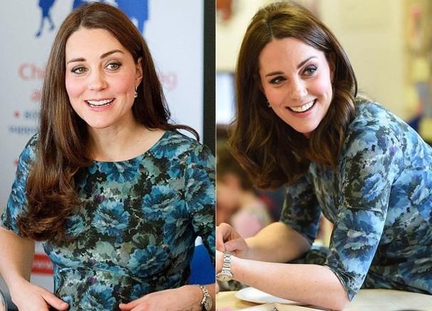 Kate em Janeiro de 2015 (grávida de Charlotte) e janeiro de 2018 esperando o seu terceiro filho (Foto: Getty Images)