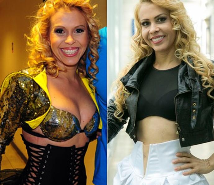 Antes e depois de Joelma: Em 2012 na novela e em 2016 (Foto: TV Globo)