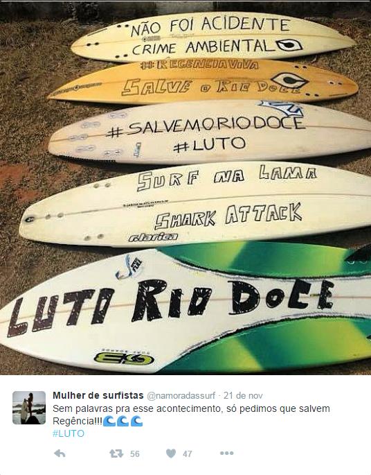 protesto pranchas surfistas regência lama espírito santo (Foto: Reprodução/Twitter)