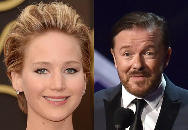 Jennifer Lawrence e Ricky Gervais (Foto: Getty Images)
