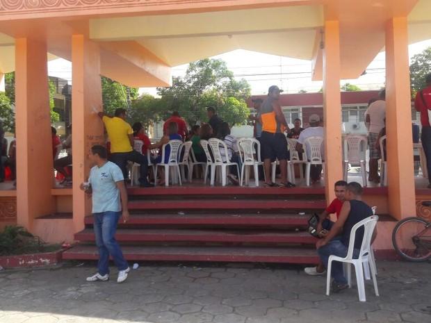 Agentes de saúde, protesto, Macapá (Foto: Abinoan Santiago/G1)