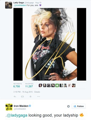 Lady Gaga mostra foto com camisa do Iron Maiden e ganha elogio da banda (Foto: Reprodução / Twitter)
