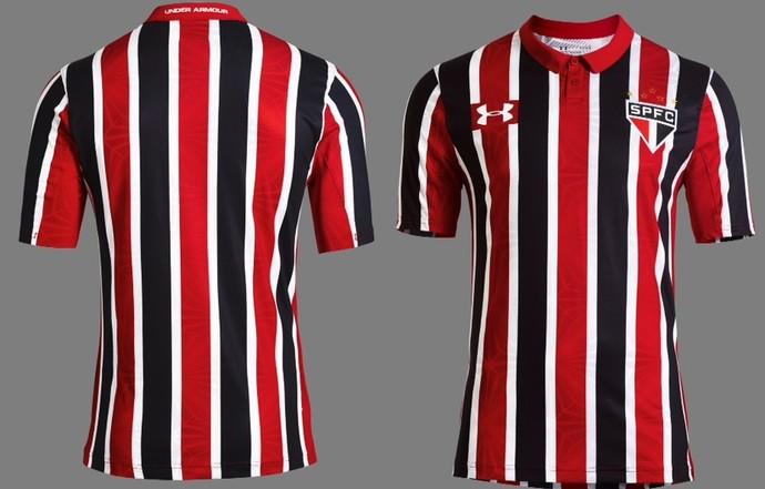 f755fcf1e48 Fotos dos detalhes do novo segundo uniforme tricolor do São Paulo ...