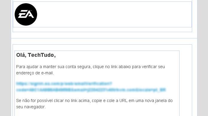 Não se esqueça de abrir seu e-mail para validar sua conta no Origin (Foto: Reprodução/Rafael Monteiro)