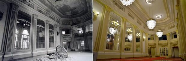 Sala de espelhos no Theatro Pedro II logo após incêndio e nos dias atuais (Foto: Rodolfo Tiengo/ G1)