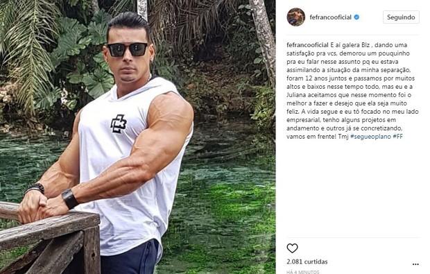 Post de Fe Franco no Instagram (Foto: Reprodução/Instagram)