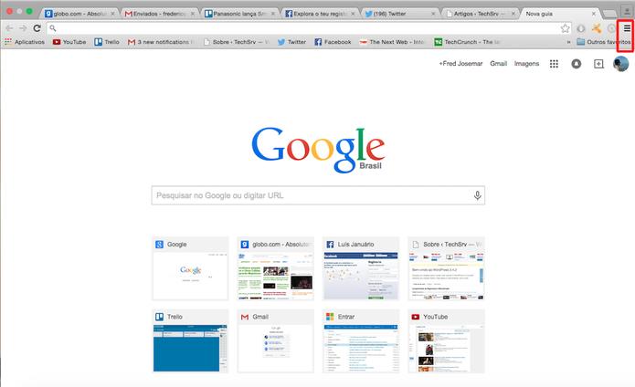 Clicando nas três barras horizontais e paralelas abrirá a caixa de diálogo com as ferramentas de configuração do Chrome (Foto: Reprodução)