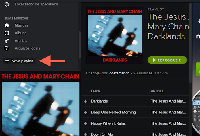Criando uma nova playlist no Spotify (Foto: Reprodução/Marvin Costa)