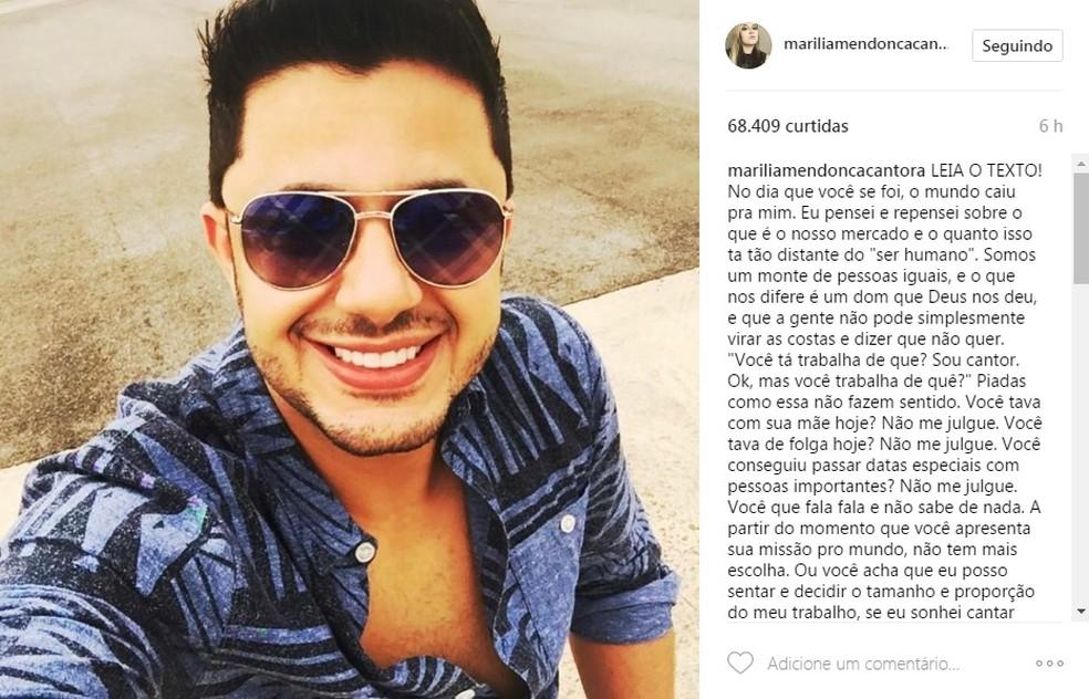 Marília Mendonça faz desabafo em rede social e relembra morte de Cristiano Araújo (Foto: Reprodução )