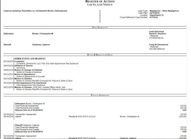 Processo de Liziane Gutierrez contra Chris Brown  (Foto: Reprodução)