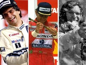 MONTAGEM - Nelson Piquet Ayrton Senna e EmersoN Fittipaldi (Foto: Agência Getty Images)