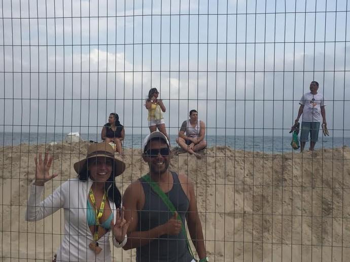 Viviane e Iuri são fãs e acompanham o trabalho de Pedro Solberg (Foto: Martha Esteves/ Globoesporte.com)