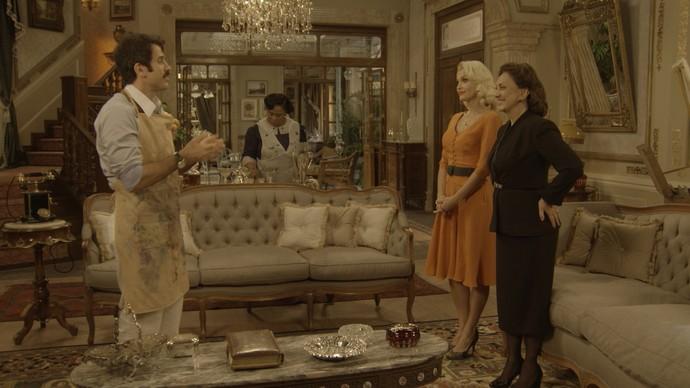 Ernesto pede a Anastácia para ficar com o ateliê (Foto: TV Globo)