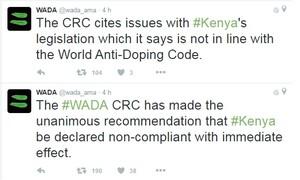 Wada anunciou em seu twitter que não aceitou as medidas do Quênia (Foto: Twitter)