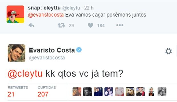 Evaristo Costa conversa com seguidor sobre jogo (Foto: Reprodução/Twitter)