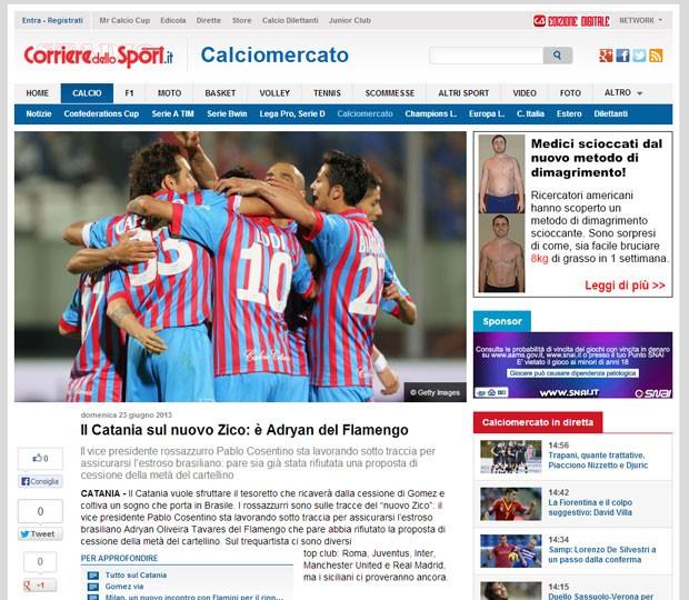Reprodução corrierer dello sport adryan novo zico catania (Foto: Reprodução Corriere Dello Sport)