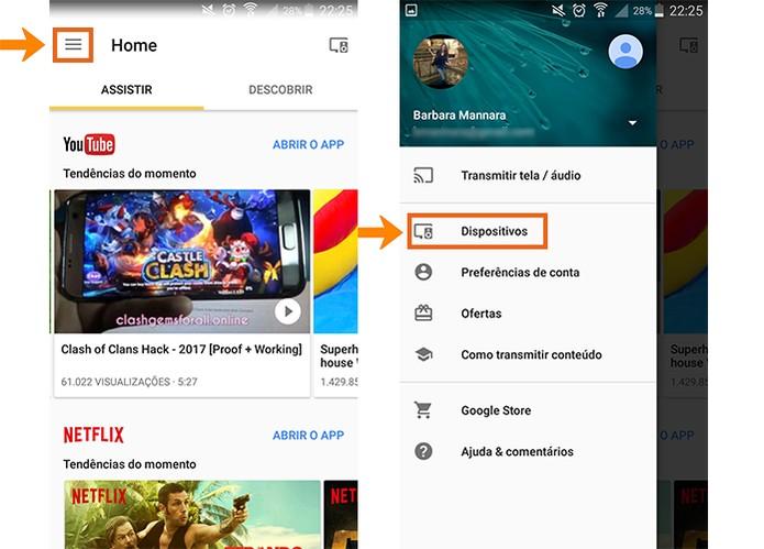 Acesse as configurações do Chromecast pelo app Home no celular (Foto: Reprodução/Barbara Mannara)