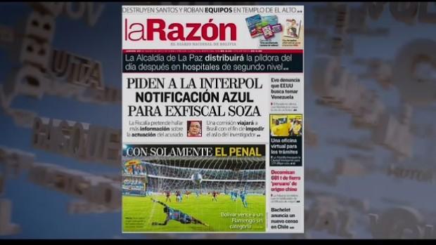 """La Razón reclama de vitória """"magra"""" do Bolívar sobre o Fla (Foto: Reprodução SporTV)"""