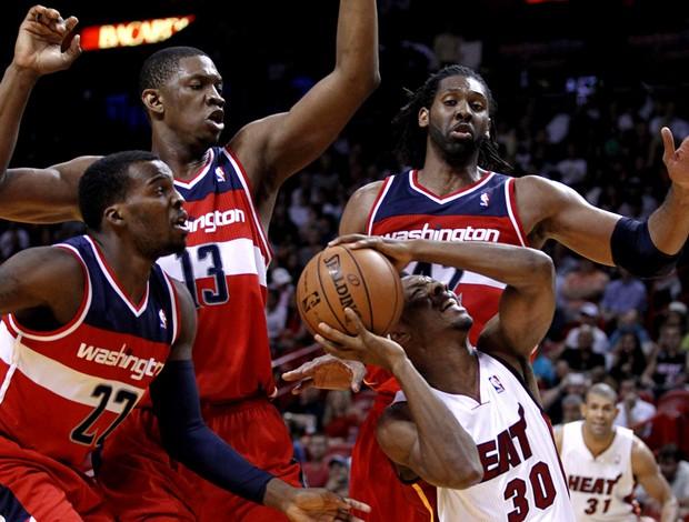 basquete nba nene hilario washington wizards e norris cole miami heat (Foto: Agência Reuters)