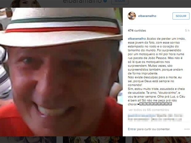 Elba Ramalho usou seu perfil em uma rede social para lamentar a morte do seu irmão, atropelado em João Pessoa (Foto: Reprodução/Instagram)